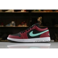 Men's And Women's Air Jordan 1 Low Black/Green Pulse-Gym Red-White 553558-036 Latest