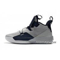 Top Deals Air Jordan 33 Georgetown Hoyas PE Grey/Navy Blue