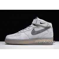 Women/Men Reigning Champ X Nike Air Force 1 Mid '07 Light Grey/Black 807618-208 Authentic