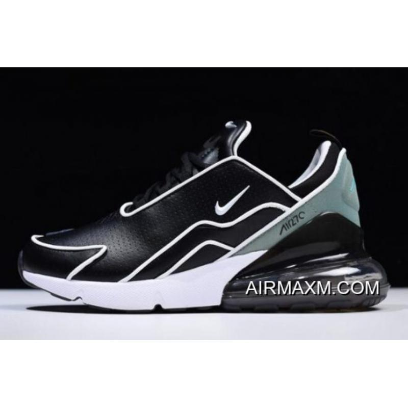 Women Men Nike Air Max 270 Flyknit Black White-Light Green AH8060- ... 1dfee5dac