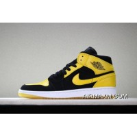 "Air Jordan 1 Mid ""New Love"" Black/Varsity Maize-White 554724-035 Free Shipping Free Shipping"