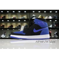 "Air Jordan 1 Retro High Flyknit ""Royal"" Black/Game Royal-White 919704-006 New Style"