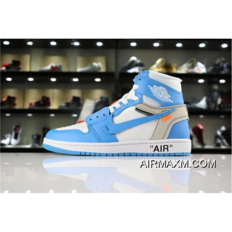 "d3ddfe1d2aac Off-White X Air Jordan 1 ""UNC"" White Dark Powder Blue-Cone AQ0818 ..."