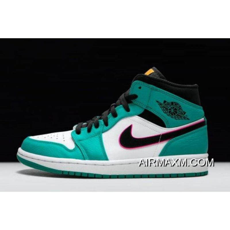"49811f1ba26e2 Women Men Authentic Air Jordan 1 Mid SE ""South Beach"" Turbo Green  ..."