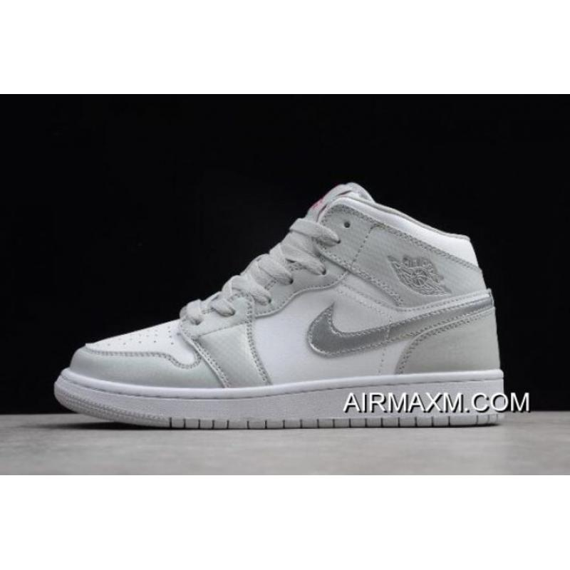 b4914120702b Women Air Jordan 1 Mid GS Grey Fog Deadly Pink 555112-012 For Sale ...
