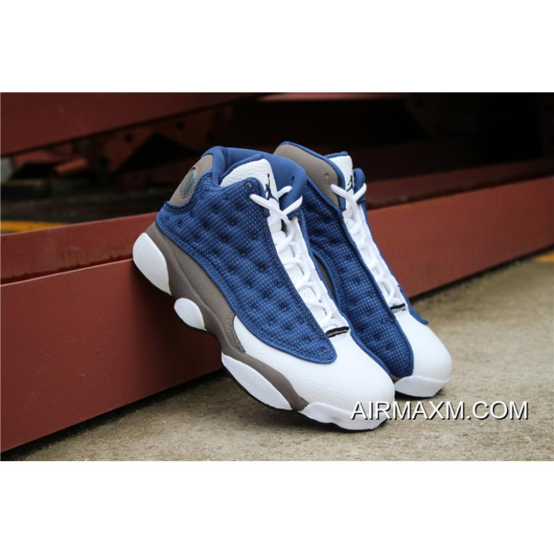 "low priced 484a2 e150d ... Men s Air Jordan 13 Retro ""Flint"" Frnch Blue Unvrsty Blue-Flint Grey ..."