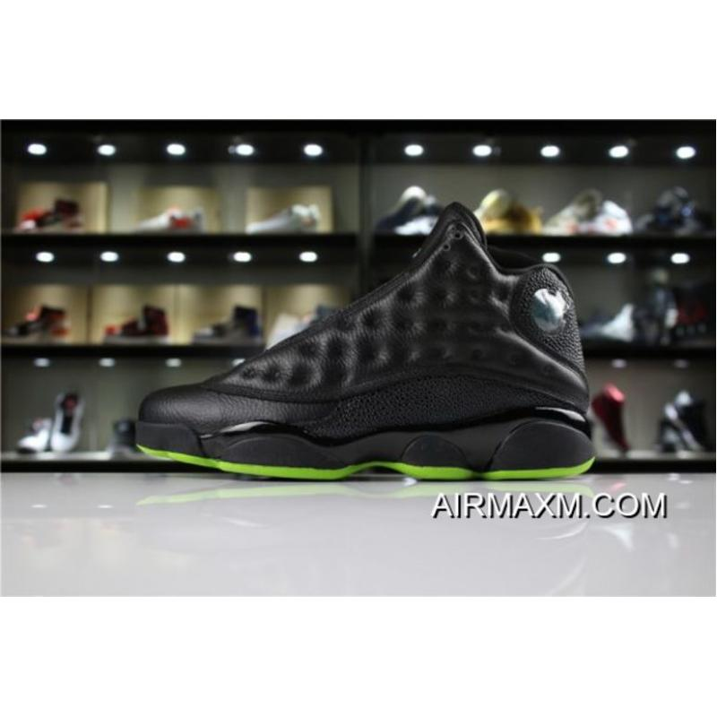 "8aa74fa027a8cf Men s Air Jordan 13 ""Altitude"" Black Altitude Green 414571-042 Discount ..."
