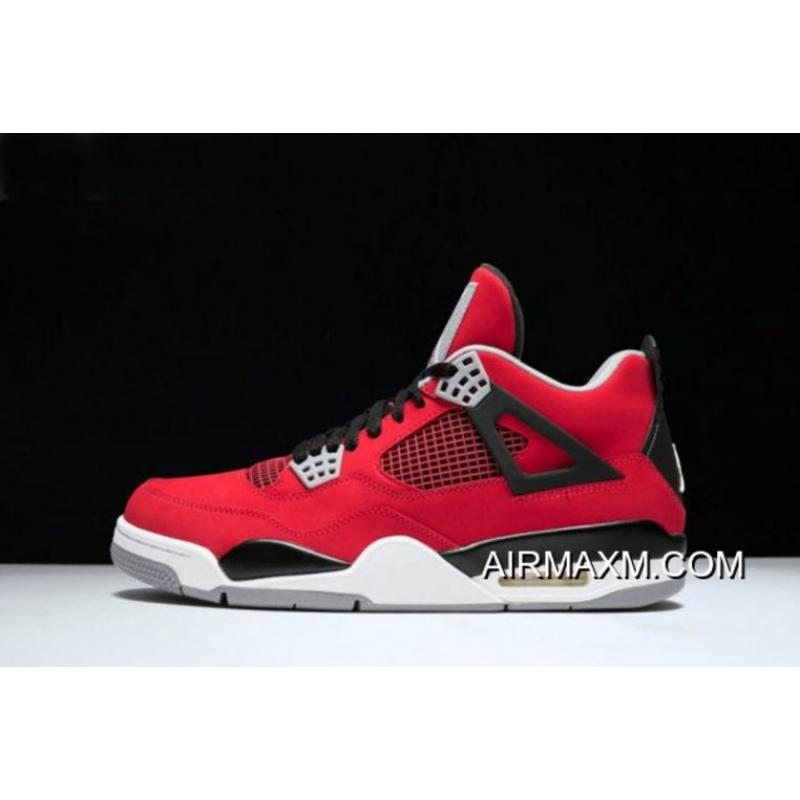 "4671de6dc70271 Women Men New Air Jordan 4 Retro ""Toro Bravo"" Fire Red White-Black ..."