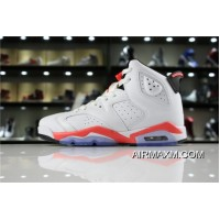 "Women/Men New Release Air Jordan 6 Retro ""White Infrared"" White/Infrared-Black 384664-123"