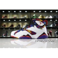 "Women/Men Latest Air Jordan 7 Retro ""Nothing But Net"" Sweater White/University Red-Black 304775-142"