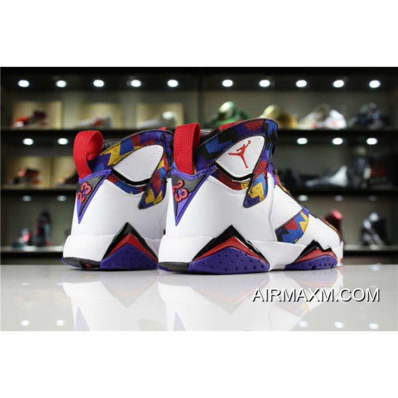 "717e7d3857d7 ... Women Men Latest Air Jordan 7 Retro ""Nothing But Net"" Sweater White  ..."