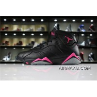 "Women/Men Best Air Jordan 7 ""Hyper Pink"" Black/Hyper Pink 442960-018"