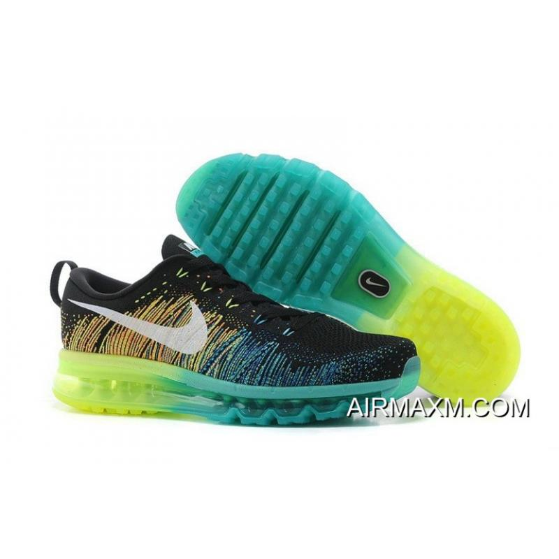 wholesale dealer 9600a a0236 Nike Air Max 2014 Flyknit Green Blue Yellow Black Authentic
