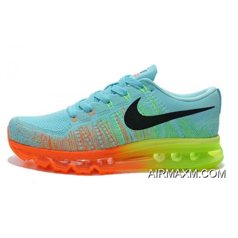 newest d161c c2bb0 Buy Now Women Nike Air Max 2014 Flyknit Blue Orange Green ...