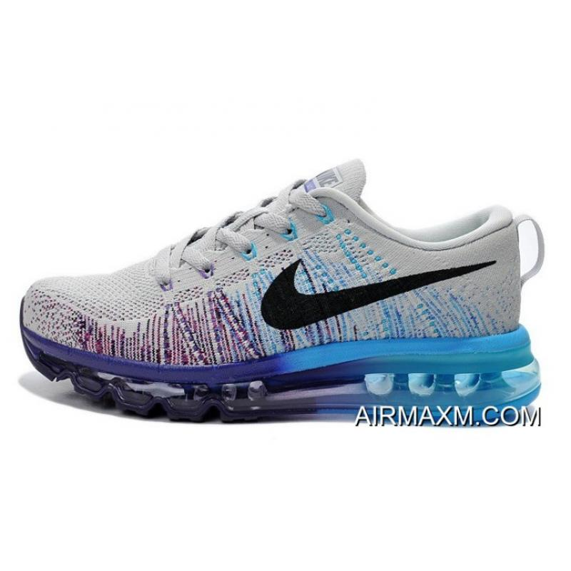 hot sales 0bbd8 4526d Big Discount Women Nike Air Max 2014 Flyknit Grey Black Purple Blue ...
