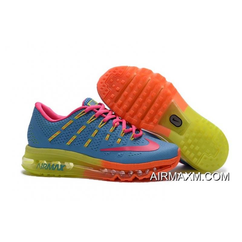 f3218a586a0 Women Latest Air Max 2016 Orange Pink Green Blue Shoes ...