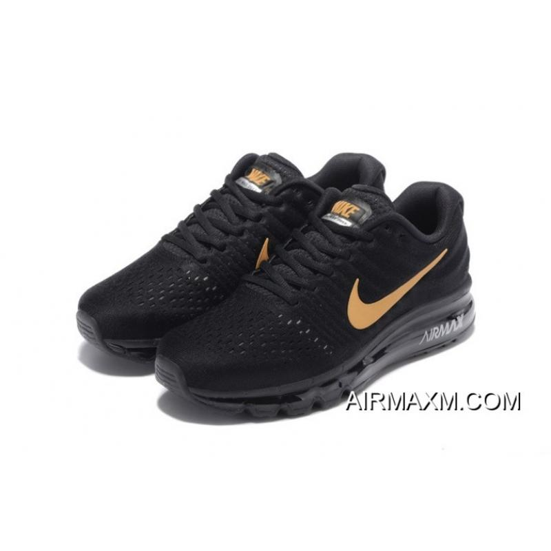 Discount Air Max 2017 Running Shoes All Black Gold Price 7026
