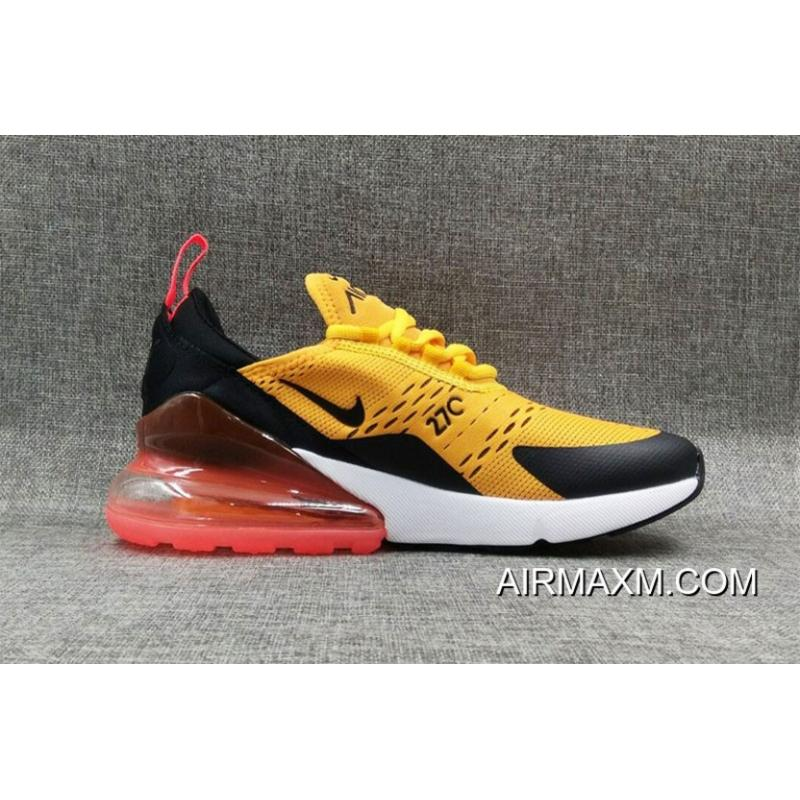 low priced 81c04 ffec9 Outlet Nike Air Max 270 Flyknit Yellow Black Orange