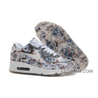 Free Shipping Nike Air Max 90 Floral Print Women Gray Wild Rose Training Shoes