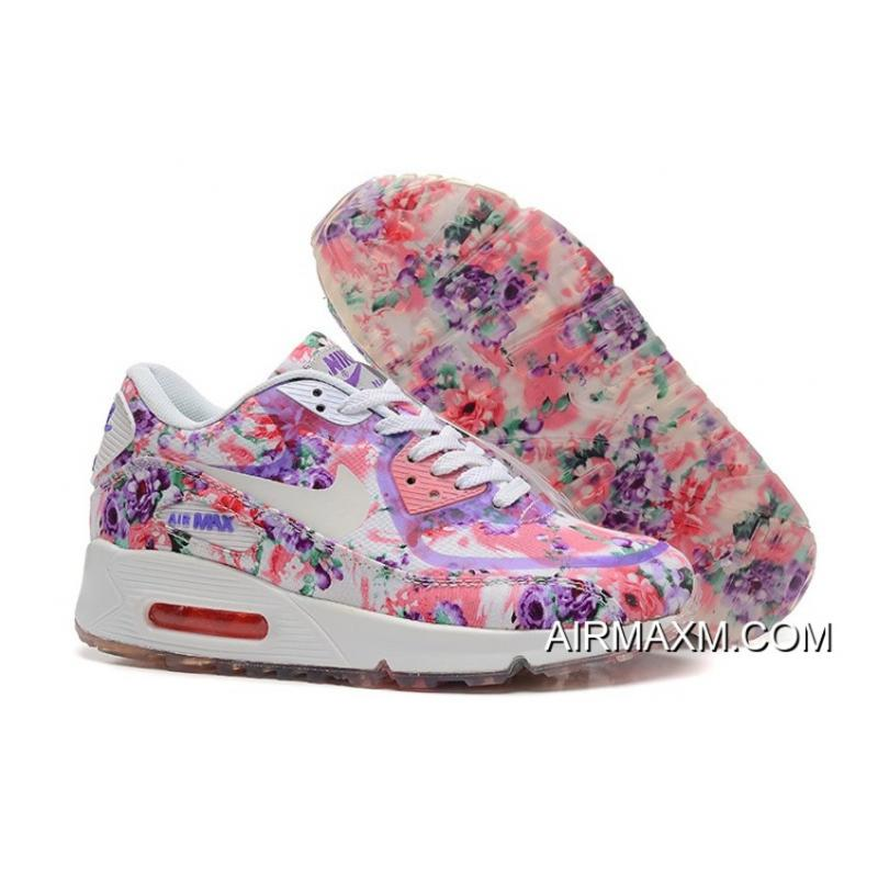 289f9c57880e Nike Air Max 90 Floral Print Women Pink Purple Wild Rose Training Shoes For  Sale ...