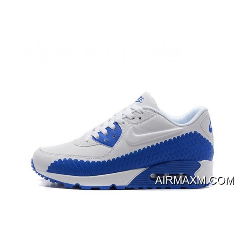 Nike Air Max 90 Woven White Royal Blue Top Deals
