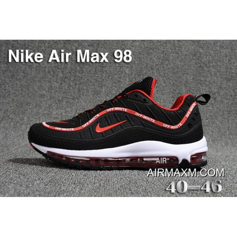 promo code 10765 68ce0 New Release Off White Nike Air Max 98 Black Red White