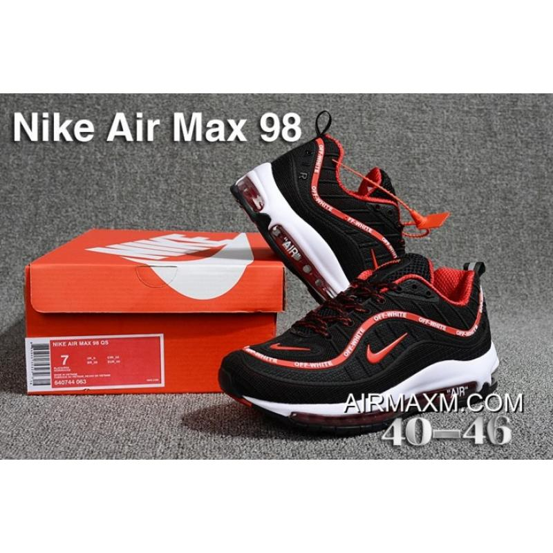 promo code 78422 c2569 New Release Off White Nike Air Max 98 Black Red White
