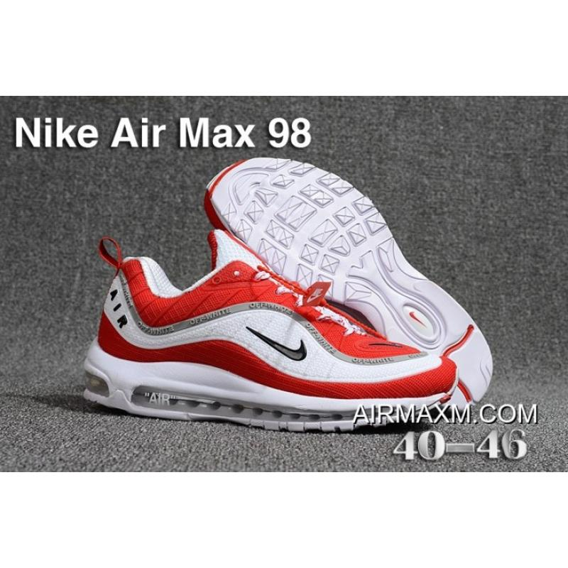 reputable site 14395 1c1ac New Release Off White Nike Air Max 98 KPU White Red Grey ...