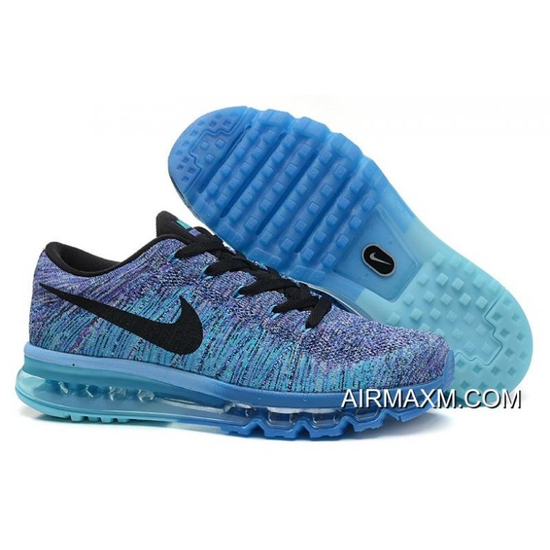 newest 83413 8c4cb Top Deals Flyknits Air Max Blue Black Purple