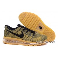 Online Nike Flyknit Air Max Men Gold Black
