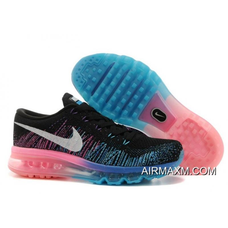 purchase cheap 50d17 ad286 Women Nike Flyknit Air Max Black Photo Blue Hyper Punch White For Sale