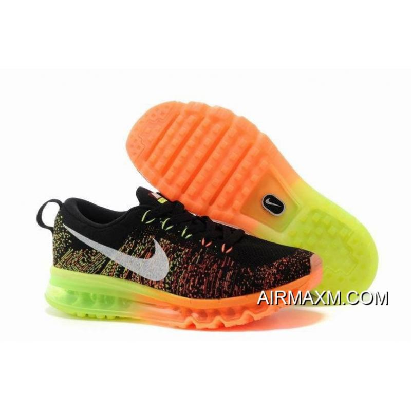 New Style Women Nike Flyknit Air Max Black Orange Neon Green ... 611a8e45a0