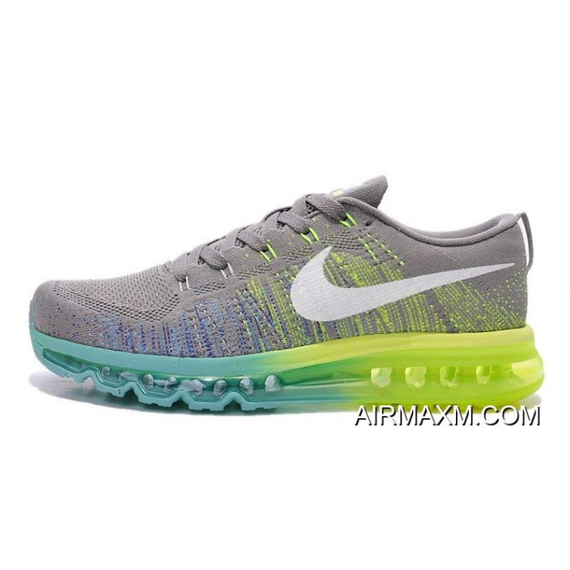 92038591c075 New Style Women Nike Flyknit Air Max Grey White Blue Green ...
