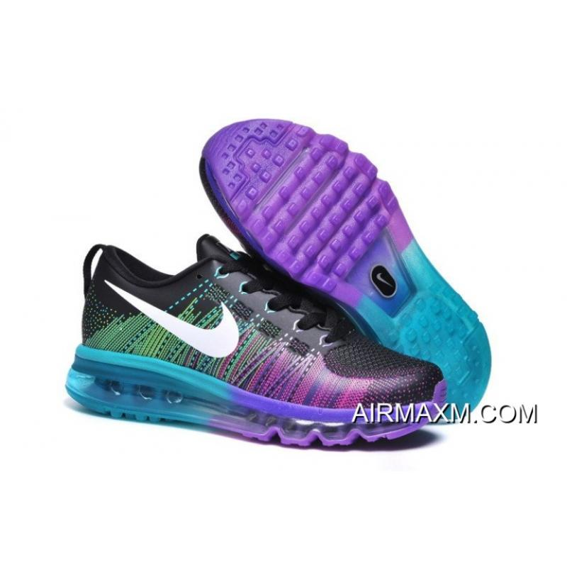 huge discount 18660 84724 Women Nike Flyknit Air Max Running Black Purple Blue Green Buy Now