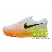 Authentic Women Nike Flyknit Air Max White Grey Orange