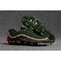 Nike Air VaporMax 97 Army Green Red Discount