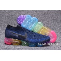 Discount Nike Air Vapormax Flyknit Blue Black Rianbow