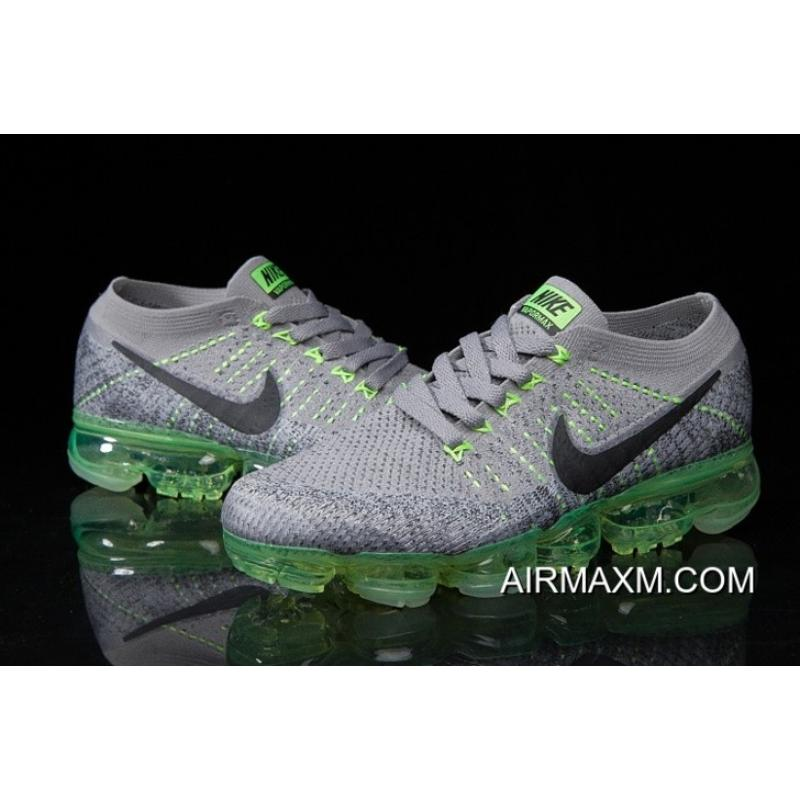 8c64b0ce1319 Nike Air Vapormax Flyknit Gray Green Shoes New Year Deals ...