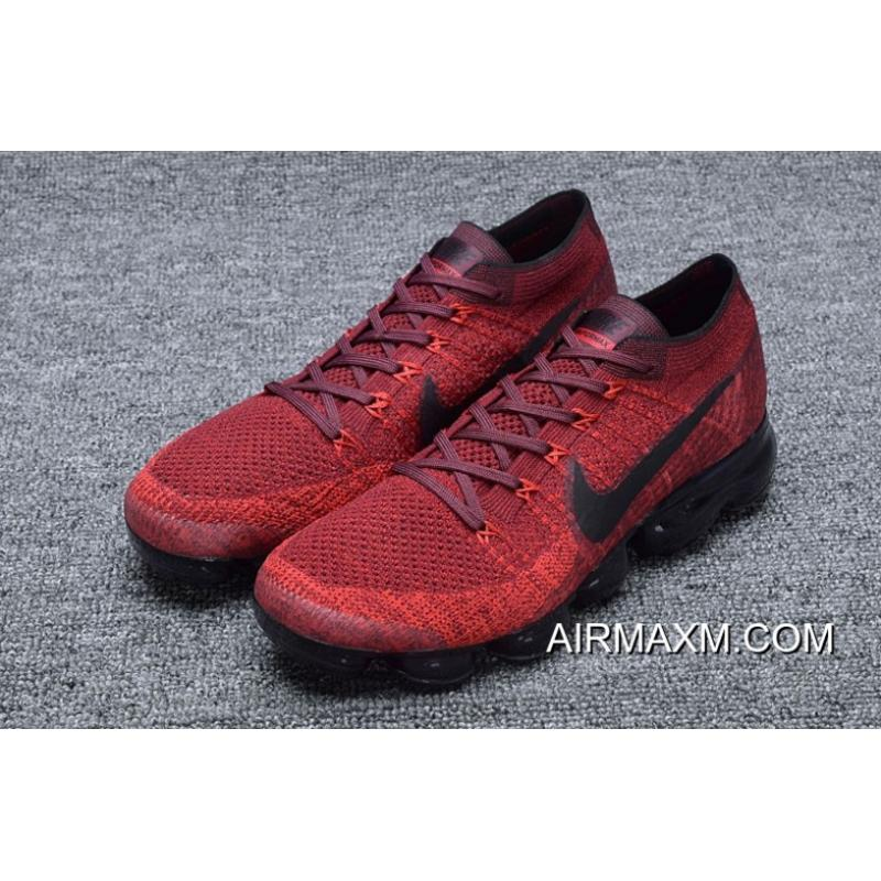 b5cf1273f74ae ... Nike Air Vapormax Flyknit Rose Red Black Big Discount ...