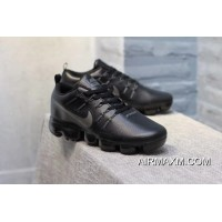 Nike Air VaporMax Leather Black Silvery Women For Sale