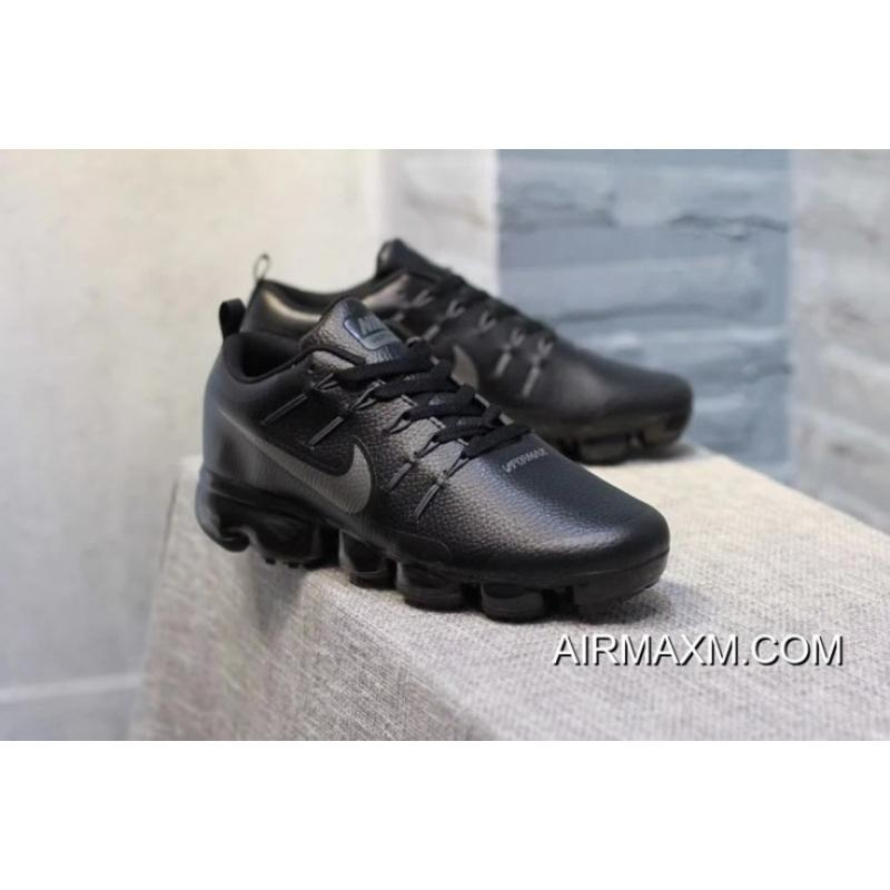 193ac14765c Nike Air VaporMax Leather Black Silvery Big Discount ...