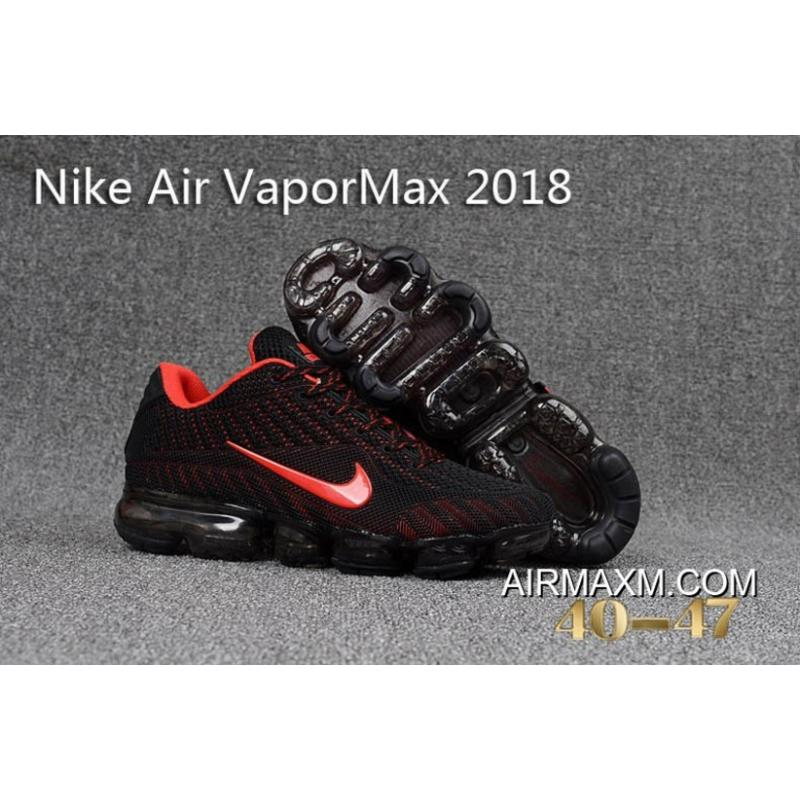 New Release Nike Air Vapormax 2018 Black Red Running Shoes ... 615e693b9