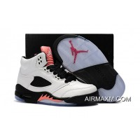 New Style Kids Air Jordan 5 Light Red Black White