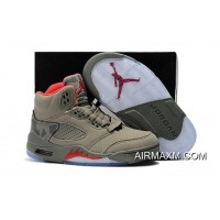 Kids Air Jordan 5 Red Army Green Outlet