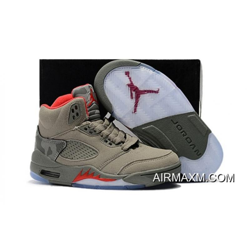 premium selection dfae7 32d72 Kids Air Jordan 5 Red Army Green Outlet