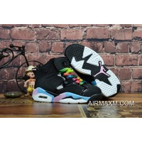 Big Deals Kids Air Jordan 6 Black Sky Blue Pink White