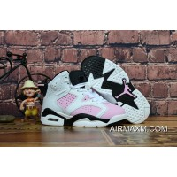 Big Deals Kids Air Jordan 6 Black White Pink