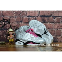 Kids Air Jordan 6 Silver Pink Black White New Style