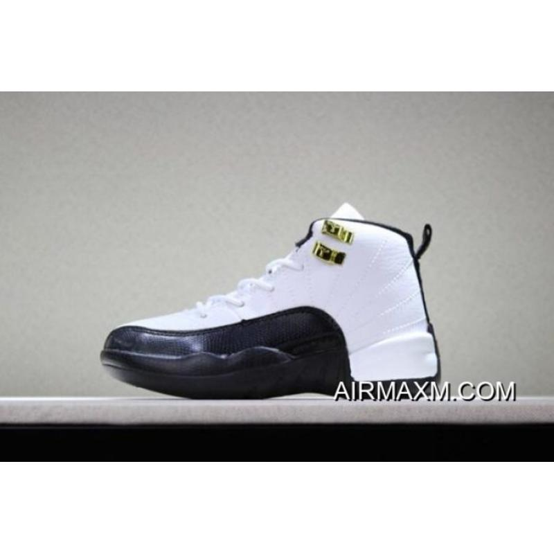 "c3cb296308b9c5 Kid s Air Jordan 12 ""Taxi"" White Black-Taxi Top Deals ..."