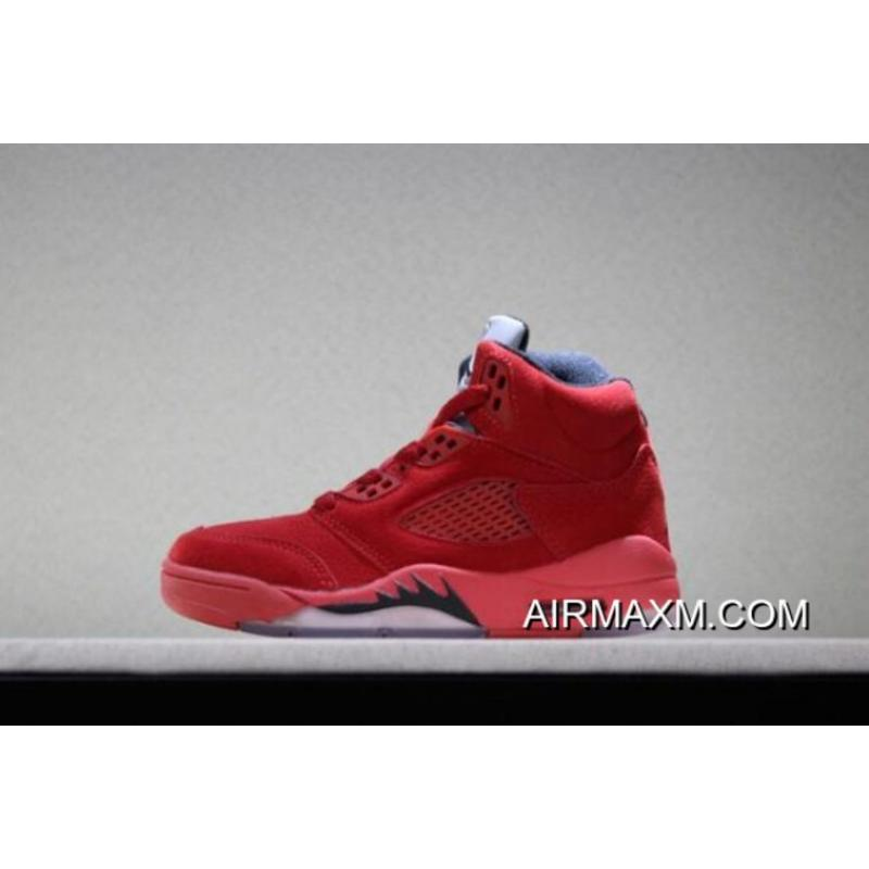 """brand new add69 8889d Authentic Kid's Air Jordan 5 Retro """"Red Suede"""" University Red/Black Free  Shipping ..."""